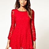 A fiery red lace dress is the ultimate in festive party wear.   Rare '60s Swing Lace Dress ($103)