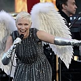 Annie Lennox performed with a set of wings on stage at the Diamond Jubilee concert.
