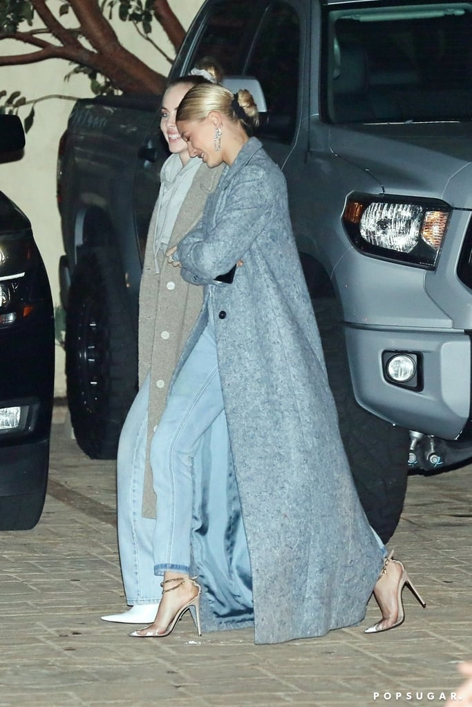 Hailey Baldwin Wearing Her Bieber Necklace With a Blue Coat