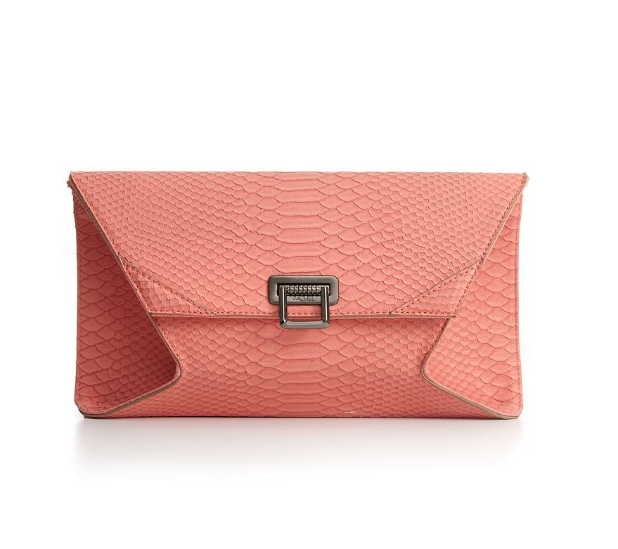 You can't beat the price point or the sweet hue and luxe-looking texture.  Rachel Rachel Roy Handbag, Medium Python Clutch ($69)