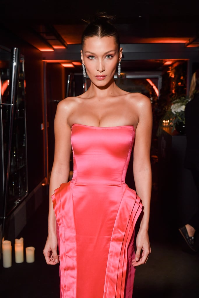 بيلا حديد بفستان وردي في باريس 2018