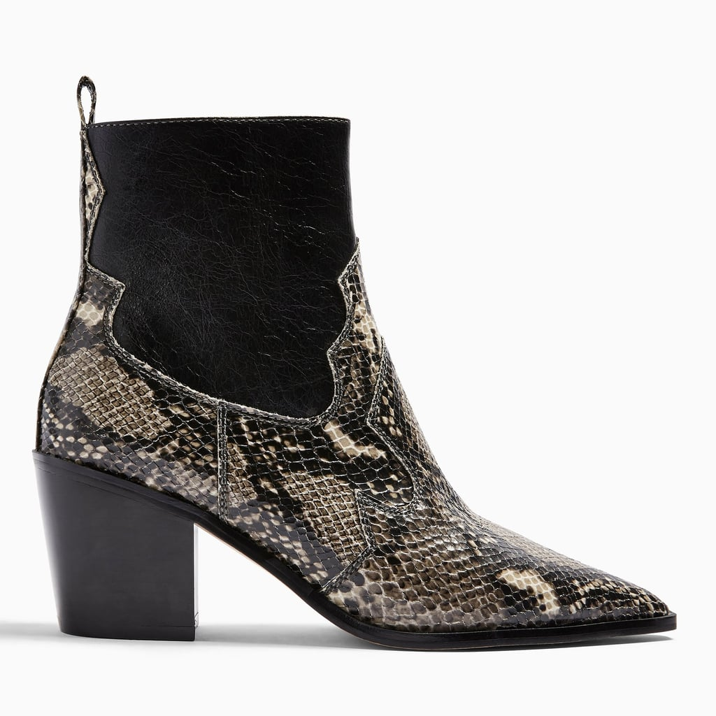 Topshop Bliss Snake Print Western Boots