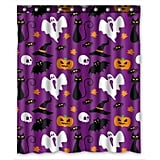 Funny Halloween Time Ghost Pumpkin Shower Curtain