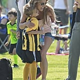 Britney Spears hugged her son Jayden on the sidelines of his soccer game in LA on Sunday.