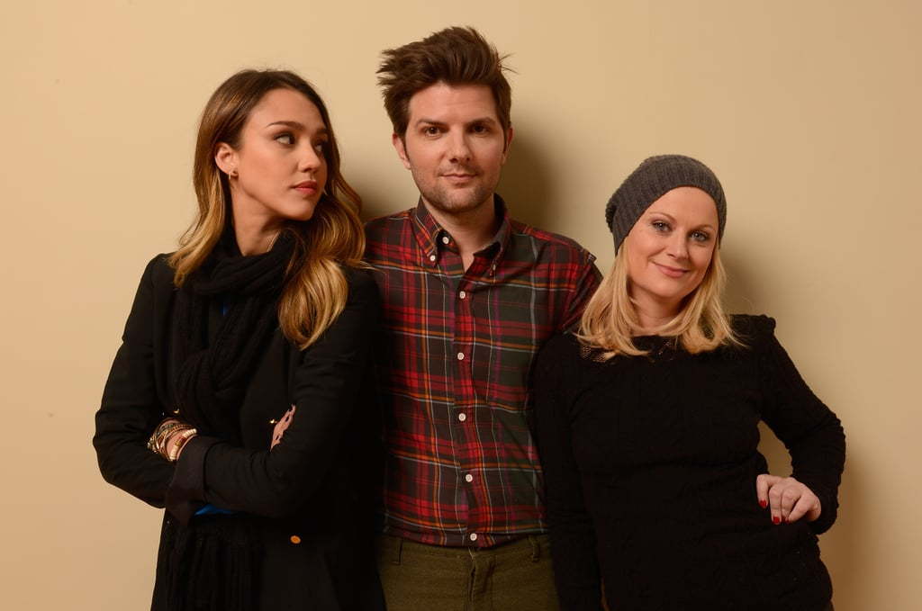 Jessica Alba posed for a portrait with her A.C.O.D. costars Adam Scott and Amy Poehler at Sundance.