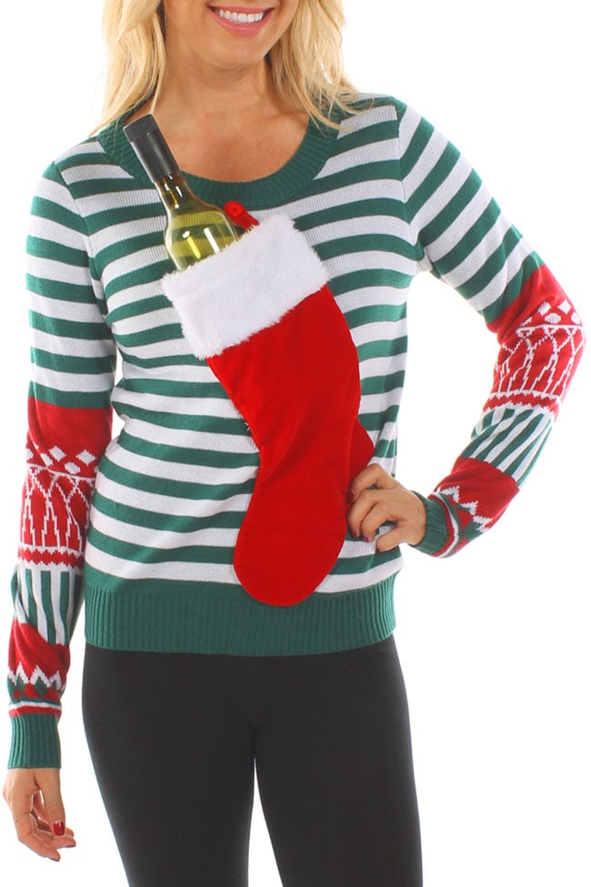 Tipsy Elves Wine-Pocket Christmas Sweater