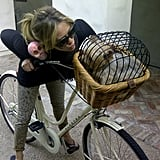 Hilary Duff took her Yorkie, Jak, on a bike ride in LA in July 2011. Source: Twitter user HilaryDuff