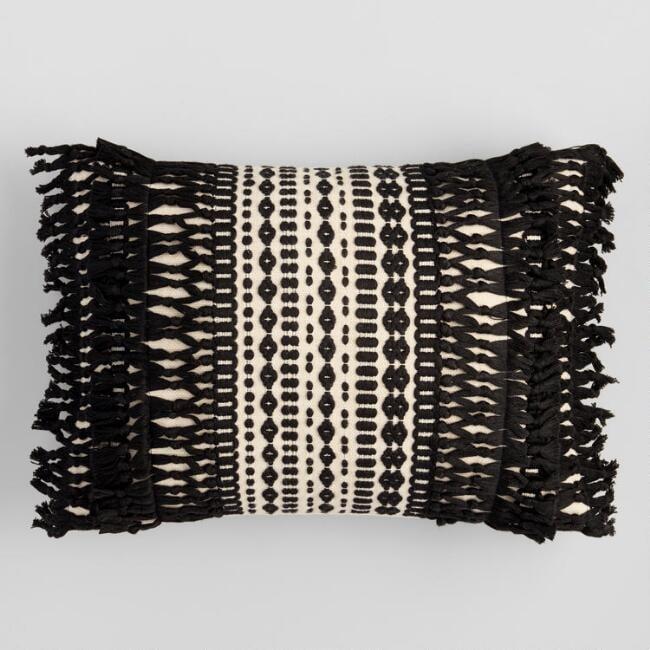 Black Geo Fringe Indoor Outdoor Lumbar Pillow