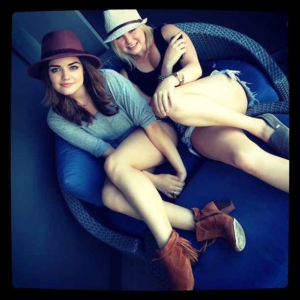 Lucy Hale cuddled up with a girlfriend. Source: Instagram user lucyhale89