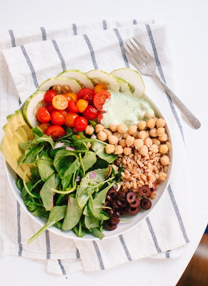 Greek Chickpea, Cucumber, Tomato, and Farro Salad