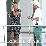 Cameron Diaz showed off her legs under a printed dress on the set of The Counselor in Spain.