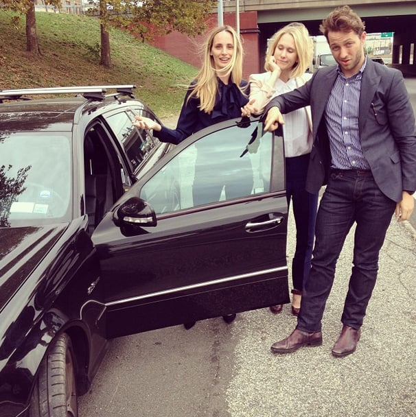 """Brilliant captioning accompanied this shot: """"@thelsd's hair was not flat today. But unfortunately her tire was. Can @derekblasberg change a tire?"""" Source: Instagram user edie_parker"""