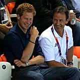 Prince Harry watched some swimming on day five.