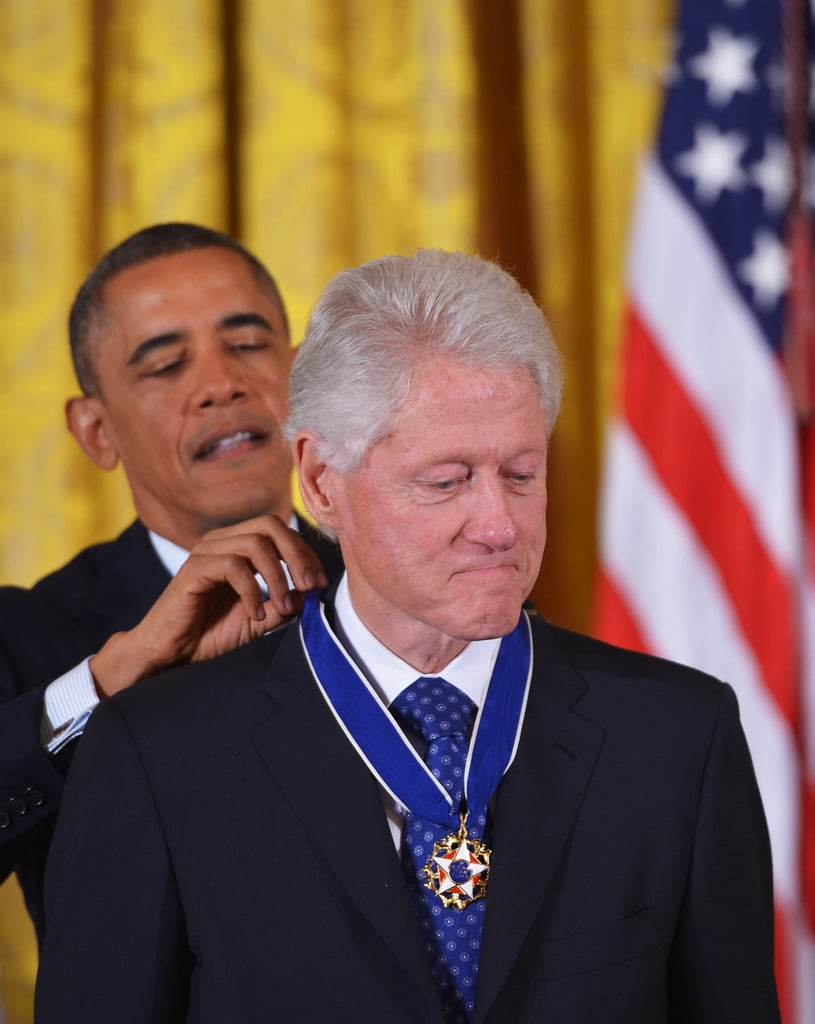 Former President Bill Clinton became emotional while receiving the honor from President Obama.