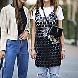 """Rethink """"evening only"""" pieces for day by styling a white t-shirt underneath."""