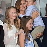 Jennifer and her kids at her Hollywood Walk of Fame star ceremony in August.