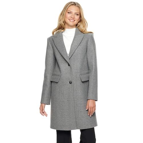 Nine West Single-Breasted Wool Blend Walker Jacket
