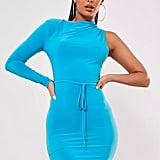 Missguided Blue Slinky One Sleeve Midi Dress