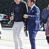 Liam Neeson and Jeremy Piven filmed a scene for the new Entourage movie in LA on Tuesday.