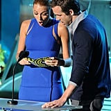 Blake Lively wore a tight blue number to present on stage with Ryan Reynolds in 2011.