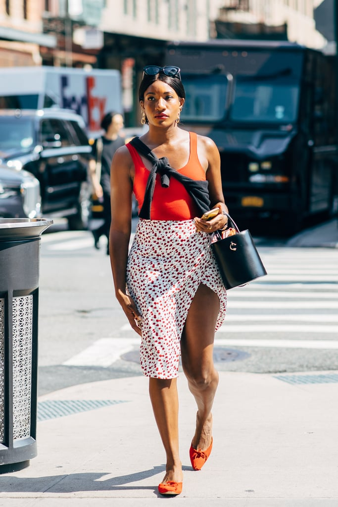 A skirt doesn't have to be fussy — just top it with an understated tank.