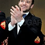 Justin Timberlake applauded US Marines at the Marine Corps Ball.