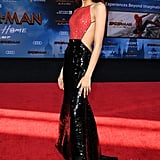 Zendaya wore this custom red and back Armani dress at the Spider-Man: Far From Home premiere.
