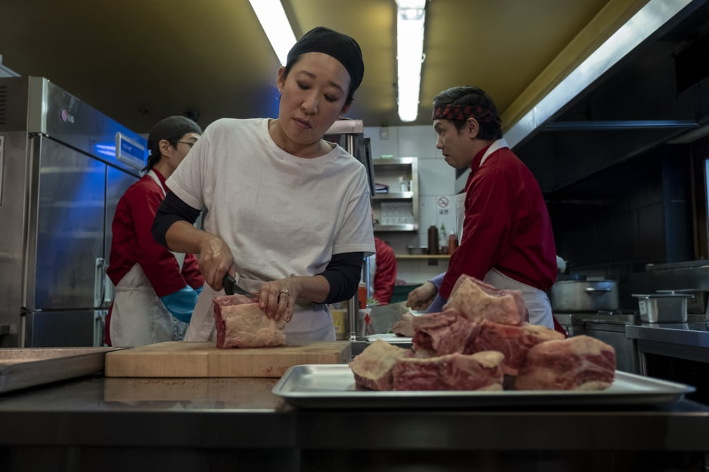 Here's Eve casually butchering some meat from some unknown reason. Perhaps she lands a new, non-spy job?
