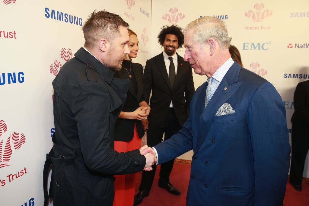 Tom shook hands with Prince Charles when he arrived at The Prince's Trust Awards at the London Palladium in March 2016.