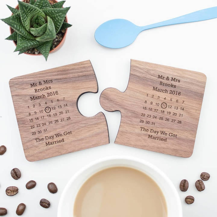 Create Gift Love Personalised Wedding Gift Coaster Set