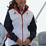 On August 6, Kate Middleton headed to Weymouth to support Team GB in the Women's Laser Radials race in her Team GB tracksuit top.