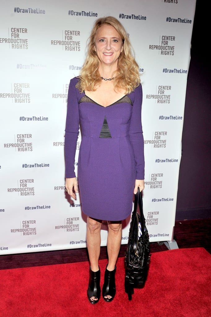 Nanette Lepore arrived at the Center for Reproductive Rights Gala in a plunging purple design.