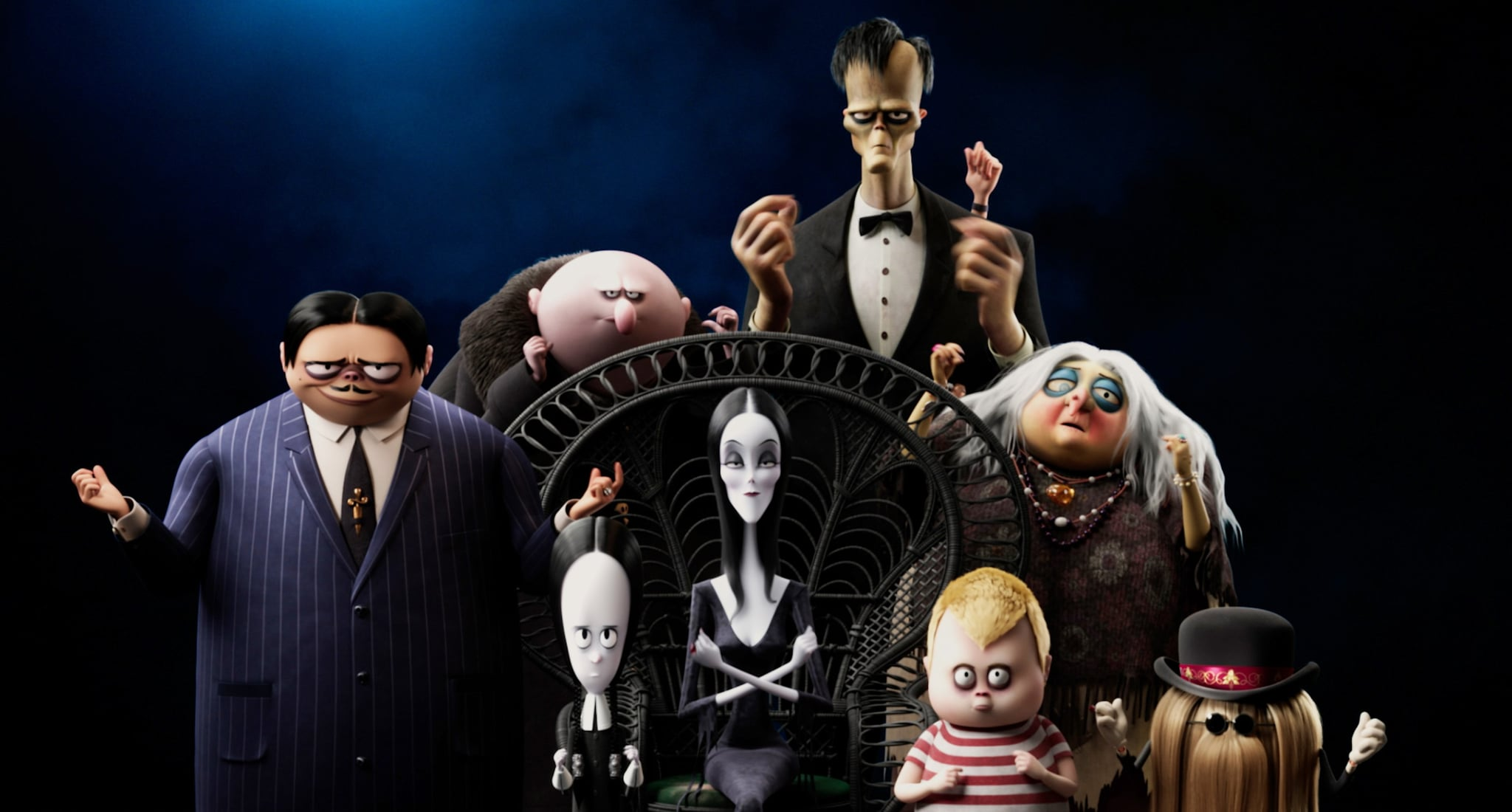 THE ADDAMS FAMILY 2, back row from left: Uncle Fester (voice: Nick Kroll), Lurch (voice: Conrad Vernon), Thing, Grandma (voice: Bette Midler); front row from left: Gomez Addams (voice: Oscar Isaac), Wednesday Addams (voice: Chloe Grace Moretz), Morticia Addams (voice: Charlize Theron), Pugsley Addams (voice: Javon 'Wanna' Walton), Cousin It (voice: Snoop Dogg), 2021.  MGM / courtesy Everett Collection