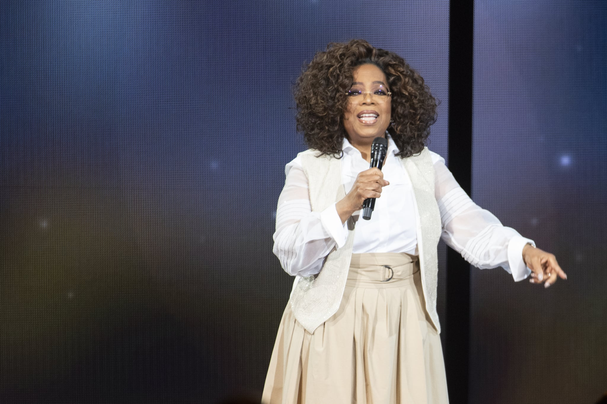 DENVER, COLORADO - MARCH 07: Oprah Winfrey speaks during Oprah's 2020 Vision: Your Life in Focus Tour presented by WW (Weight Watchers Reimagined) at Pepsi Center on March 07, 2020 in Denver, Colorado.   (Photo by Tom Cooper/Getty Images)