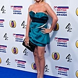Sheridan Smith showed off her pins in a teal mini dress.