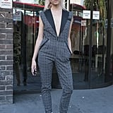 A jumpsuit with a plunging neckline is the perfect play on corporate dressing for a Friday date.