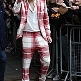 Harry Styles Wearing a Red-and-White-Plaid Vivienne Westwood Suit in 2017