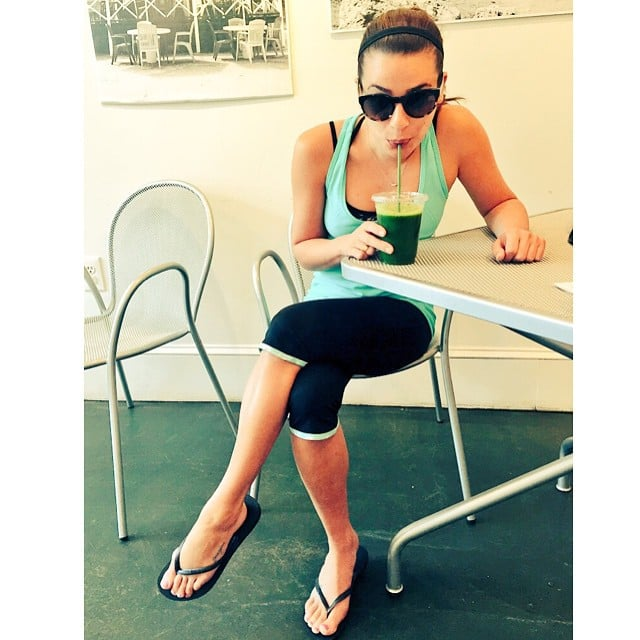 Lea Michele sipped on some green juice.