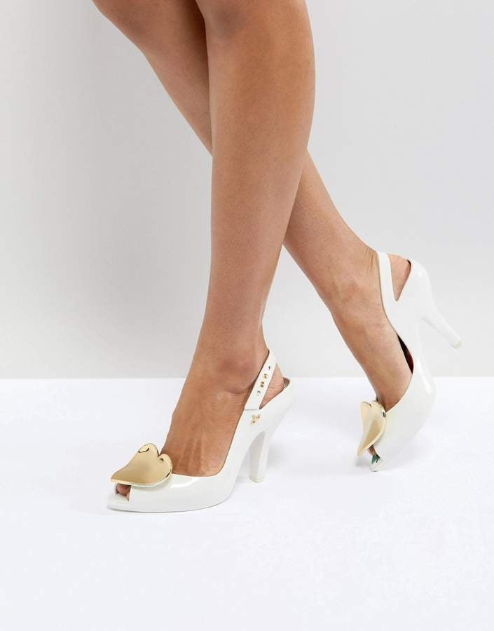 Vivienne Westwood For Melissa Lady Dragon White Heart Heeled Shoes