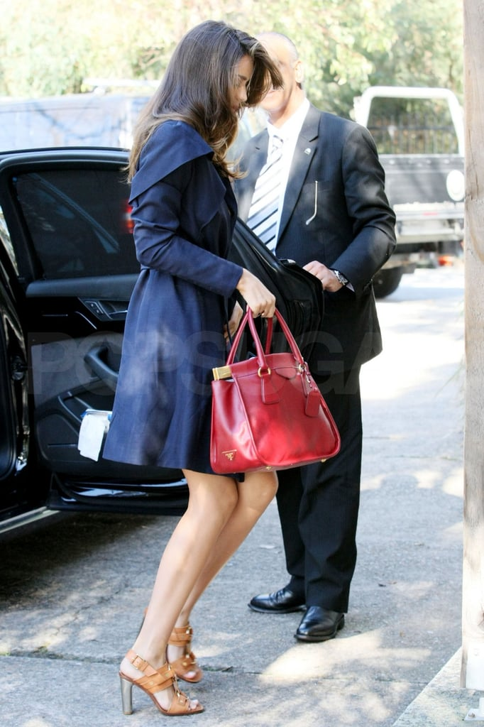 Miranda Kerr Carrying Red Prada Bag in Australia Pictures