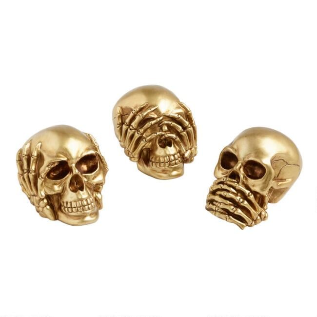 Gold No Evil Skull Decor Set of Three