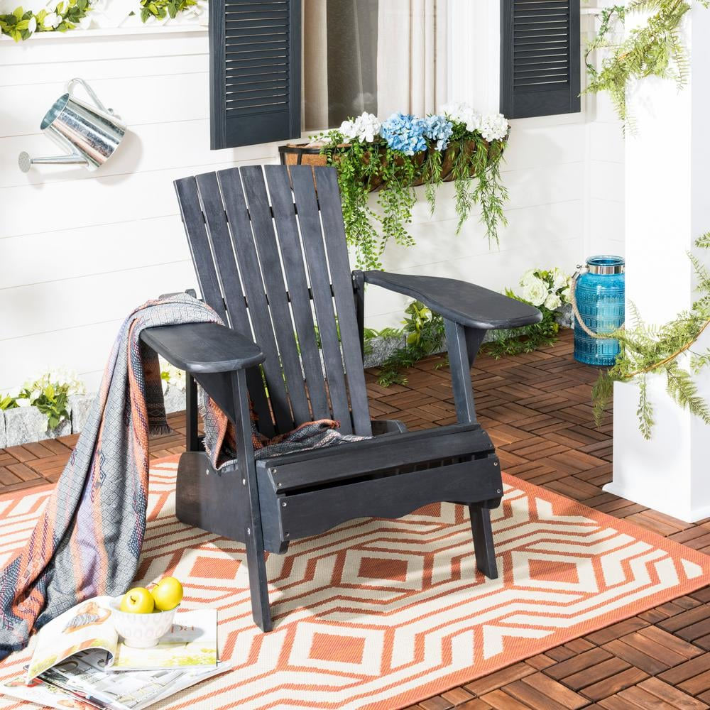 Safavieh Mopani Dark Slate Gray Wood Adirondack Chair
