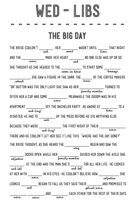 The Big Day Free Printable Wedding Mad Libs Popsugar Smart