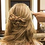 As you can see, the braids are more concentrated on the left side of the head. To balance the look, take a small section from the right side and start a small braid.