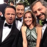 Leslie Mann and Judd Apatow shared a moment with Bryan Cranston and Aaron Paul. Source: Twitter user juddapatow