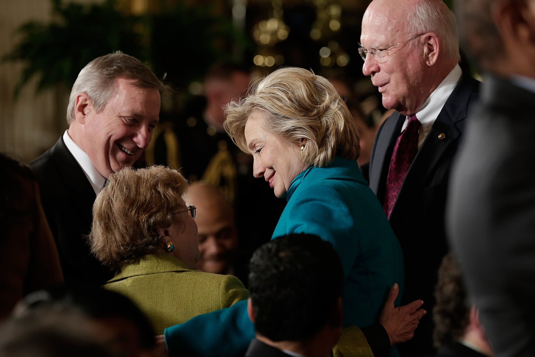 Hillary Clinton greeted guests at the event.