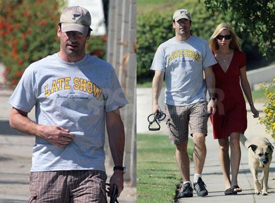 Photos of Mad Men Star John Hamm Walking His Dog With Girlfriend Jennifer Westfeldt