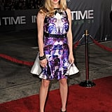 Amanda Seyfried wore a purple printed dress to the In Time premiere in LA.