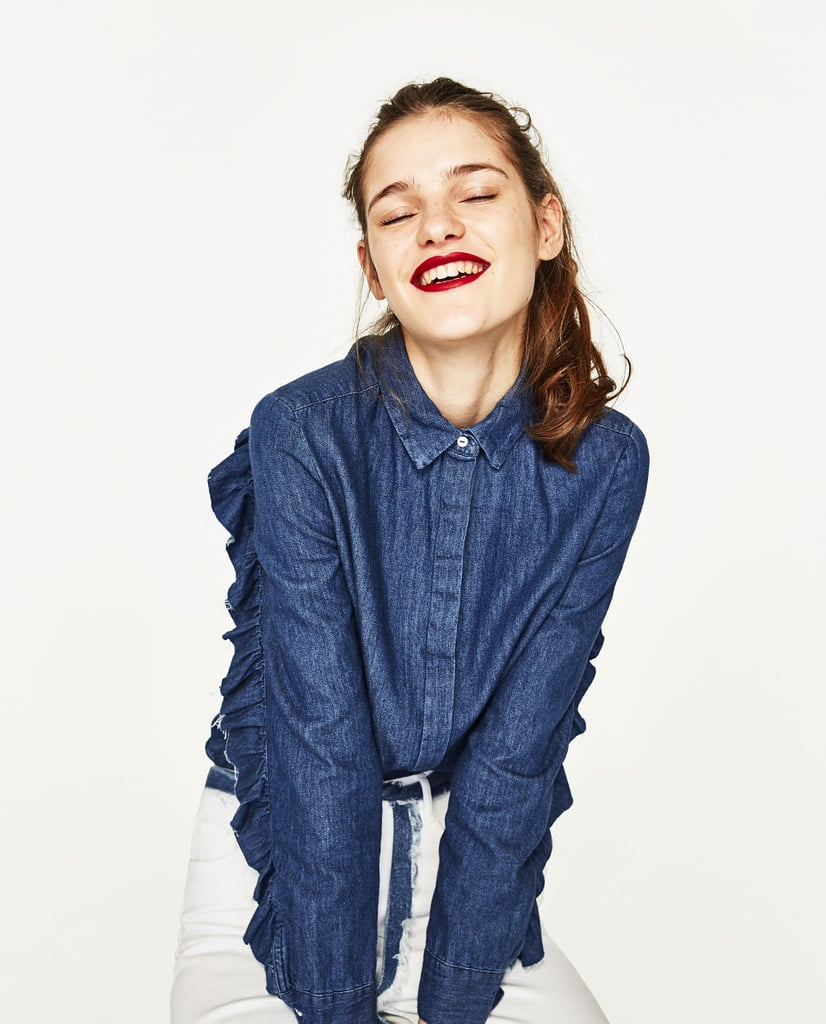 Zara Denim Shirt With Frilled Sleeves