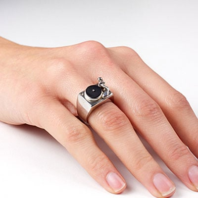 Turntable ring by Darkcloud Silver ($385)